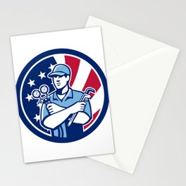 American Air-Con Serviceman USA Flag Icon Stationery Cards