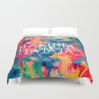 hakuna Duvet Covers featuring Hakuna Matata Painted Clouds by Caleb Troy
