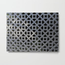 ORNATE VINTAGE GREY GRILLE ABSTRACT Metal Print