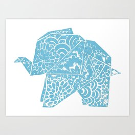 The Elephant - Origami Style and japanese pattern Art Print