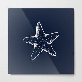 Navy Blue Star Fish Nautical Beach House Decor Metal Print