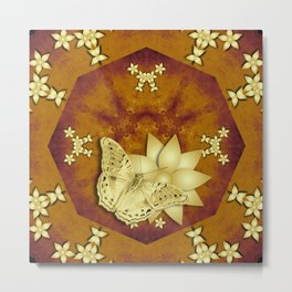 gold butterfly and flowers on copper mandala Metal Print