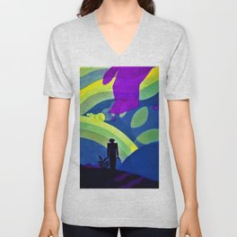 African American Masterpiece 'The Creation' by Aaron Douglas Unisex V-Neck