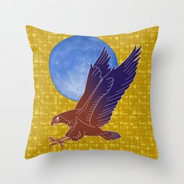 Eagle and Moon on Gold-leaf Screen Throw Pillow