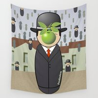 magritte Wall Tapestries featuring Kokeshi Magritte by Pendientera