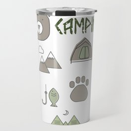 Camping Collage with Bear Tent Mountains and More Travel Mug