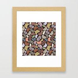 Moths Pattern - Dark Brown Framed Art Print