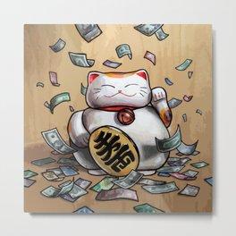 Lucky Ca$h Cat Metal Print
