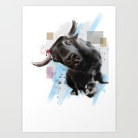 bull Art Prints featuring bull by e12art