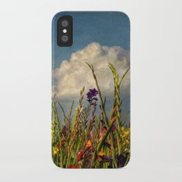 colored swords - field of Gladiola flowers iPhone Case