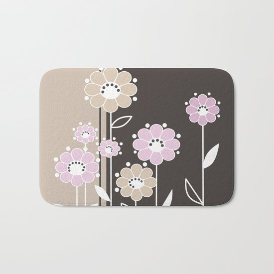 Floral applique . Retro . Bath Mat