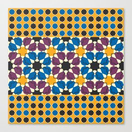 Moroccan seamless pattern, Morocco. Patchwork mosaic with traditional folk geometric ornament Canvas Print
