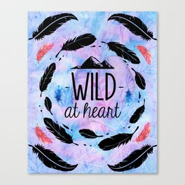 Wild at Heart - Boho Watercolor Feathers Canvas Print