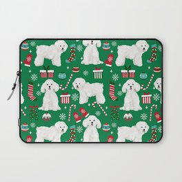 Bichon Frise Christmas dog breed pattern mittens stockings presents dog lover Laptop Sleeve