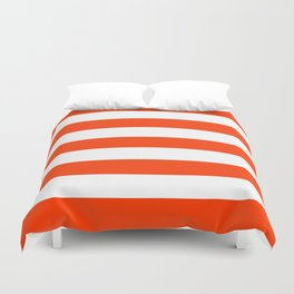 Coquelicot - solid color - white stripes pattern Duvet Cover