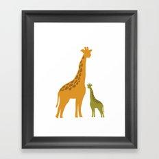 Mommy and child giraffe Framed Art Print