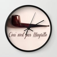 magritte Wall Clocks featuring Magritte by Maressa Andrioli