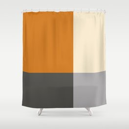 Minimal Abstract Vintage Cream Orange Grey 04 Shower Curtain