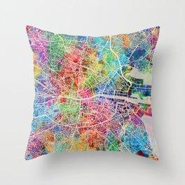 Dublin Ireland City Map Throw Pillow