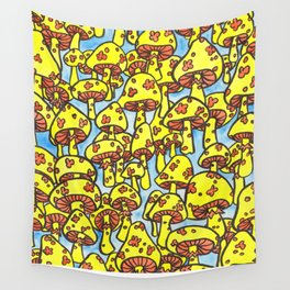 seventy-seven yellow mushrooms Wall Tapestry
