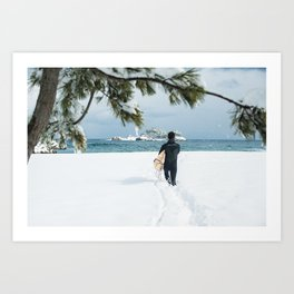 Lone Korean surfer heads out for a wave after a huge snow storm on the 38th Parallel, South Korea Art Print
