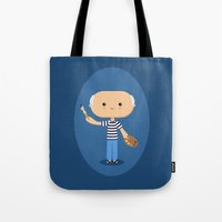 pablo picasso Tote Bags featuring Pablo Picasso by Sombras Blancas Art & Design