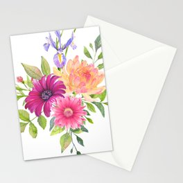 Flowers bouquet, Iris, Dalia, and Gerber Stationery Cards