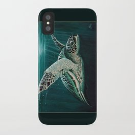 """""""Moonlit"""" by Amber Marine - Sea Turtle, Acrylic Painting, (Copyright 2015) iPhone Case"""