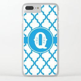 Blue Monogram: Letter Q Clear iPhone Case