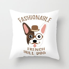 Bulldog French Dog Fashionable Hipster Vintage Throw Pillow