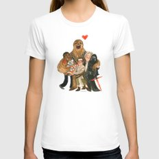 Force Awakens Hug! White X-LARGE Womens Fitted Tee