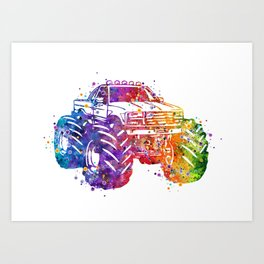 Monster Truck Colorful Watercolor Art Print