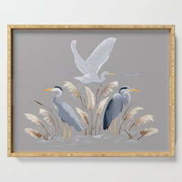 Great Blue Heron - Gray Serving Tray
