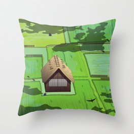 Rice paddy field Throw Pillow
