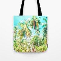 cuba Tote Bags featuring Cuba , Palmeras ( Cuba palms ) by arnedayan