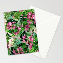 Pink orchids and hummingbirds Stationery Cards