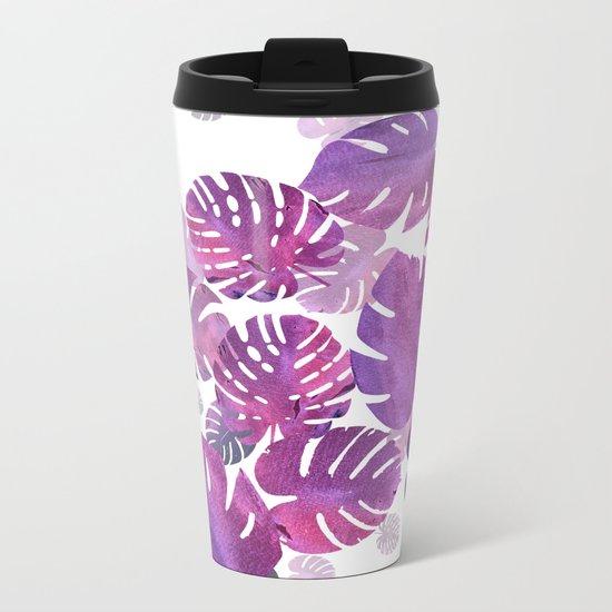 Violet Tropical Metal Travel Mug