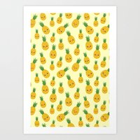 pineapples Art Prints featuring Pineapples by Sara Showalter