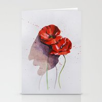 poppies Stationery Cards featuring Poppies by Alina Rubanenko