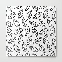 Leaves - white Metal Print