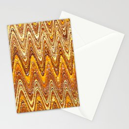 liv - retro wave abstract design orange tan rust copper Stationery Cards