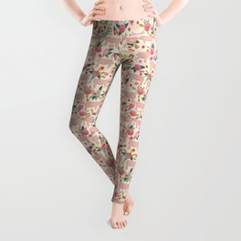 Pig florals farm homesteader pigs cute farms animals floral gifts Leggings