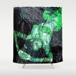 Oriental Beauty in Green Shower Curtain