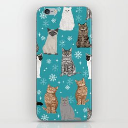 Cat breeds snowflakes winter cuddles with kittens cat lover essential cat gifts iPhone Skin