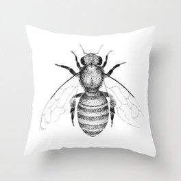 Modern & minimalist honeybee illustration in black and white Throw Pillow