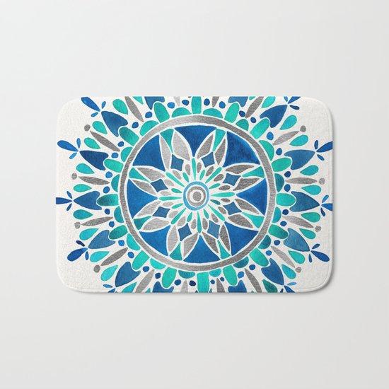 Mandala – Silver & Blue Bath Mat