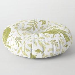 Blackbirds and Foliage I Floor Pillow