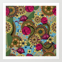 Zentangle style with pomegranate and flowers Art Print