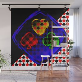 Vector set of designations of cards and suits in poker in metal frame on foil. Red green blue and ye Wall Mural