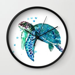 Turtle Watercolor Wall Clock